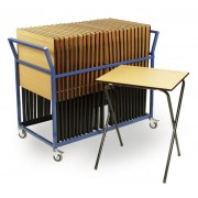 Exam Pack - Exam Desk Trolley in Blue Complete with 25 Exam Desks
