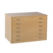 6 Drawer Plan Chest (static) with Drawer Stops All Beech