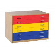 6 Drawer Plan Chest (static) with Drawer Stops Beech with Coloured Drawers